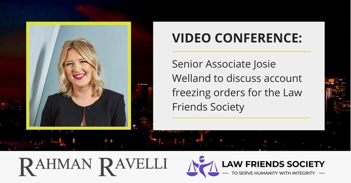 Josie Welland records video conference on account freezing orders for the Law Friends Society